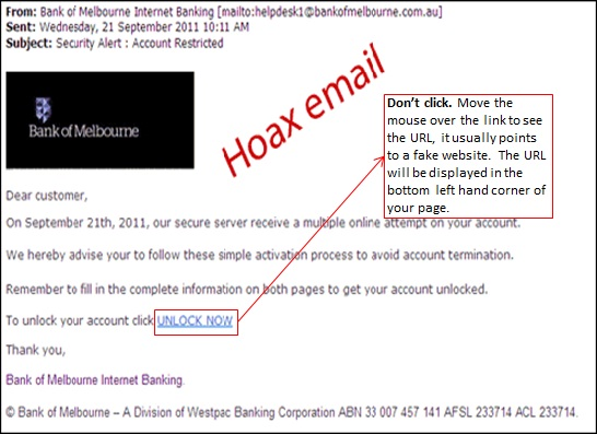 Hoax email sample