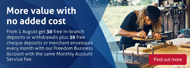 Get 30 free in branch deposits or withdrawals plus 30 free cheque deposits or merchant envelopes every month with our Freedom Business Account with the same monthly account keeping fee