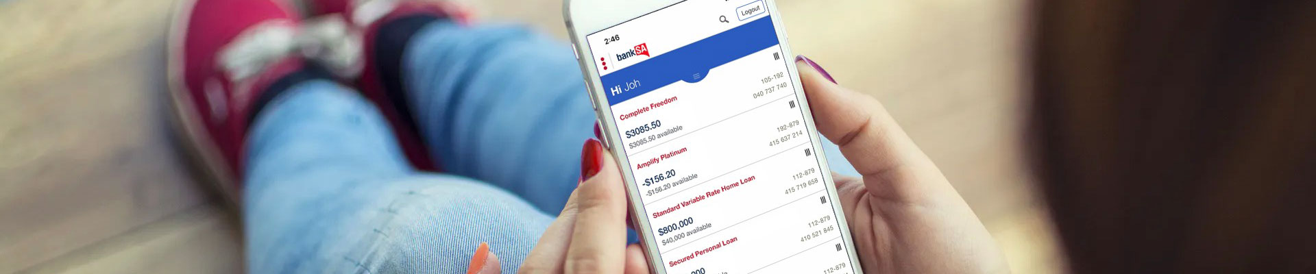 Viewing bank accounts on mobile banking