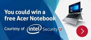 Win an Acer Notebook courtesy of Intel Security.